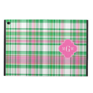 Emerald Green Hot Pink Wht Preppy Madras Monogram Powis iPad Air 2 Case