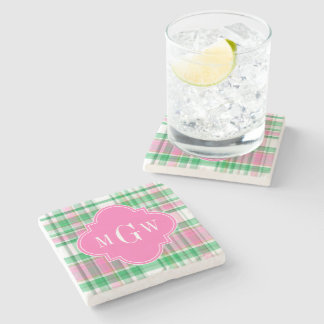 Emerald Green Hot Pink Wht Preppy Madras Monogram Stone Coaster