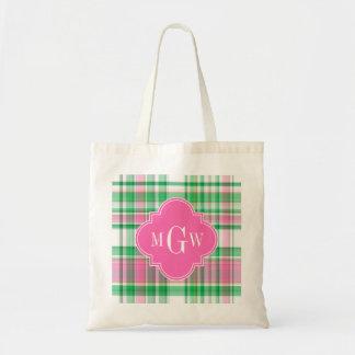 Emerald Green Hot Pink Wht Preppy Madras Monogram Tote Bag