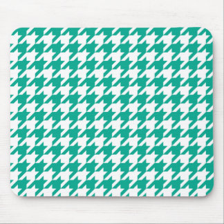 Emerald Green Houndstooth Mouse Pad