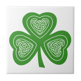 Emerald Green Irish Celtic Knot Shamrock Leaf Ceramic Tile