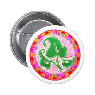 Emerald Green Leaf Jewel 2 Inch Round Button