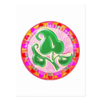 Emerald Green Leaf Jewel Postcard
