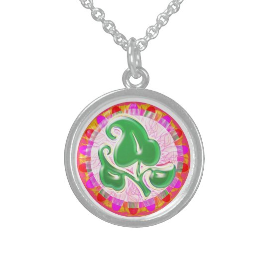 Emerald Green Leaf Jewel : Sterling Silver Sterling Silver Necklace
