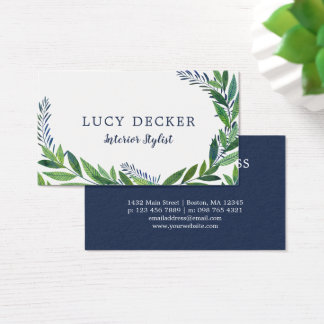 Emerald Green Leaves Business Card