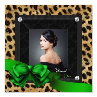 Emerald Green Leopard Photo Graduation Card