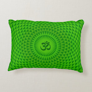 Emerald Green Lotus flower meditation wheel OM Accent Pillow