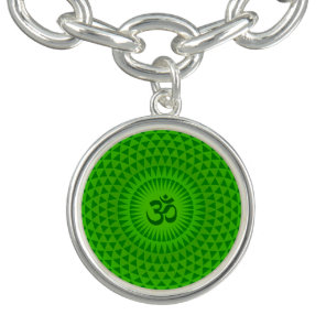 Emerald Green Lotus flower meditation wheel OM Charm Bracelet