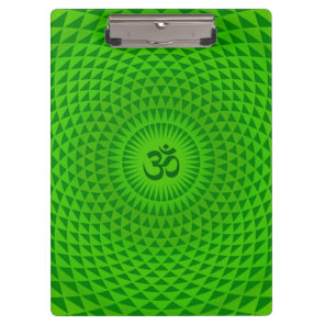 Emerald Green Lotus flower meditation wheel OM Clipboard