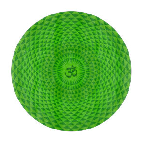Emerald Green Lotus flower meditation wheel OM Cutting Board