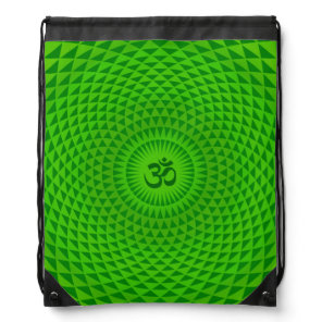Emerald Green Lotus flower meditation wheel OM Drawstring Bag