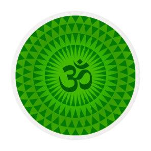Emerald Green Lotus flower meditation wheel OM Edible Frosting Rounds