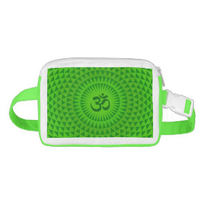 Emerald Green Lotus flower meditation wheel OM Fanny Pack
