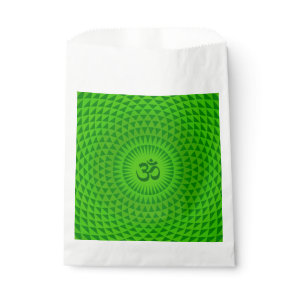 Emerald Green Lotus flower meditation wheel OM Favor Bag