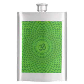 Emerald Green Lotus flower meditation wheel OM Flask