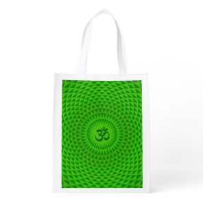 Emerald Green Lotus flower meditation wheel OM Grocery Bag