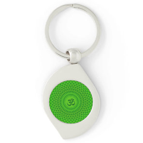 Emerald Green Lotus flower meditation wheel OM Keychain