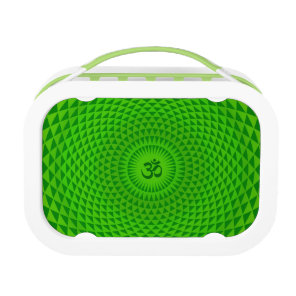 Emerald Green Lotus flower meditation wheel OM Lunch Box