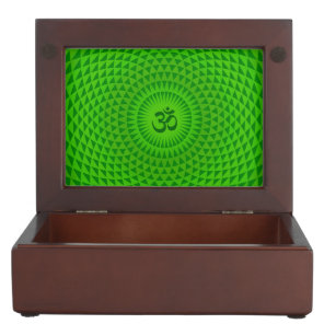 Emerald Green Lotus flower meditation wheel OM Memory Box