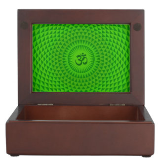 Emerald Green Lotus flower meditation wheel OM Memory Box