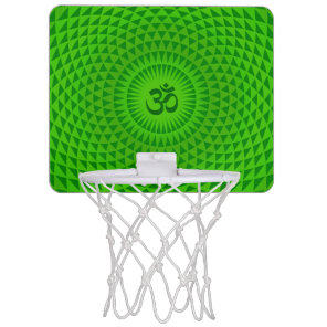 Emerald Green Lotus flower meditation wheel OM Mini Basketball Backboard
