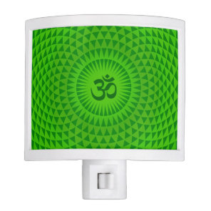Emerald Green Lotus flower meditation wheel OM Night Light