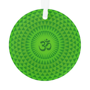 Emerald Green Lotus flower meditation wheel OM Ornament