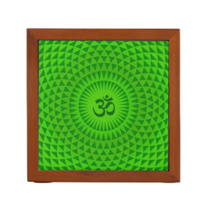 Emerald Green Lotus flower meditation wheel OM Pencil Holder