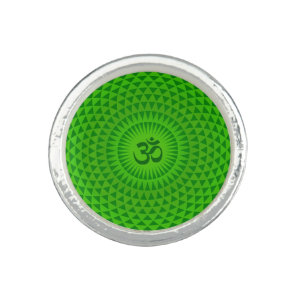 Emerald Green Lotus flower meditation wheel OM Photo Rings