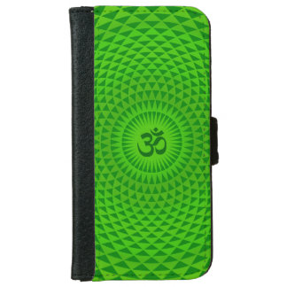 Emerald Green Lotus flower meditation wheel OM iPhone 6 Wallet Case