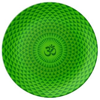 Emerald Green Lotus flower meditation wheel OM Plate