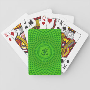 Emerald Green Lotus flower meditation wheel OM Playing Cards