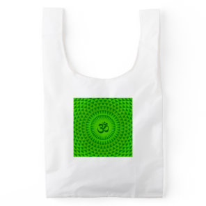 Emerald Green Lotus flower meditation wheel OM Reusable Bag