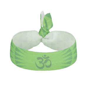 Emerald Green Lotus flower meditation wheel OM Ribbon Hair Tie