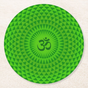 Emerald Green Lotus flower meditation wheel OM Round Paper Coaster