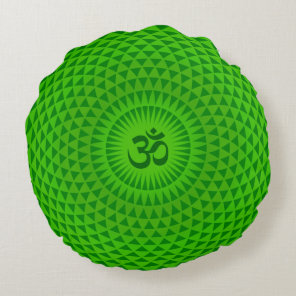 Emerald Green Lotus flower meditation wheel OM Round Pillow