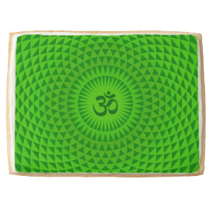 Emerald Green Lotus flower meditation wheel OM Shortbread Cookie