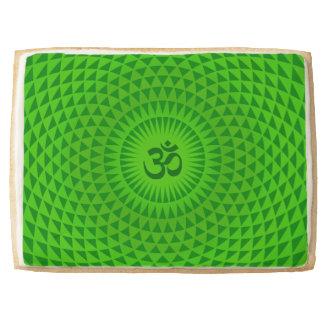 Emerald Green Lotus flower meditation wheel OM Shortbread Cookie
