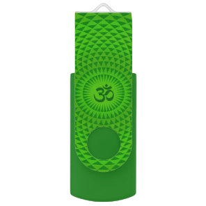 Emerald Green Lotus flower meditation wheel OM USB Flash Drive