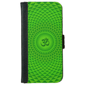 Emerald Green Lotus flower meditation wheel OM Wallet Phone Case For iPhone 6/6s