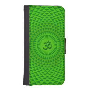 Emerald Green Lotus flower meditation wheel OM Wallet Phone Case For iPhone SE/5/5s