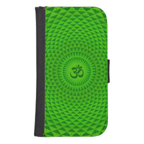 Emerald Green Lotus flower meditation wheel OM Wallet Phone Case For Samsung Galaxy S4
