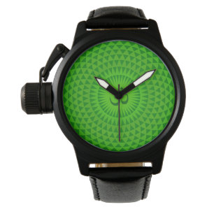 Emerald Green Lotus flower meditation wheel OM Wristwatch