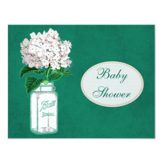 Emerald Green Mason Jar & Hydrangea Baby Shower Card