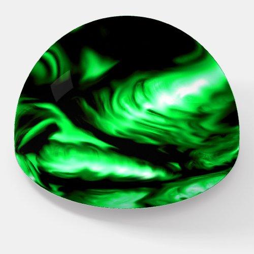 Emerald Green Melting Liquid Swirls Abstract Art Paperweight