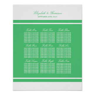 Emerald Green Modern Wedding Seating Chart