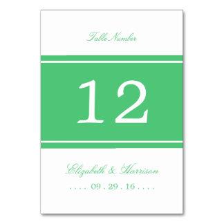 Emerald Green Modern Wedding Table No. Card