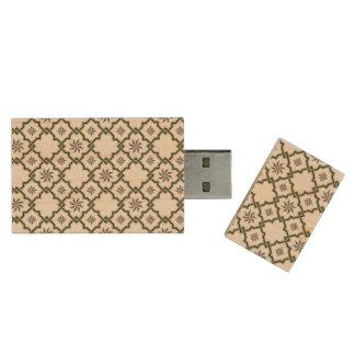 Emerald Green Moorish Pattern - USB Thumb Drive Wood USB 2.0 Flash Drive