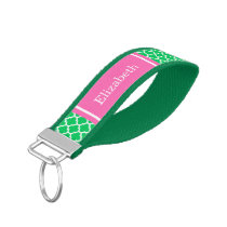 Emerald Green Moroccan #5 Hot Pink Name Monogram Wrist Keychain