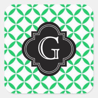 Emerald Green Moroccan Quatrefoil Monogram Black Square Sticker